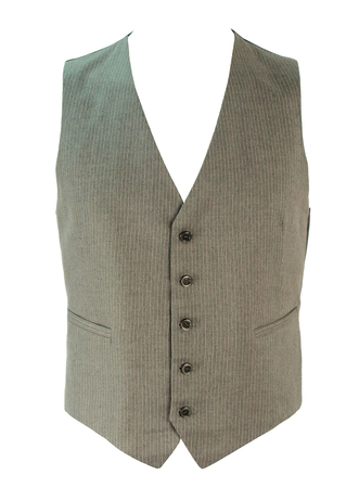 Grey and White Pinstripe Tailored Waistcoat - M