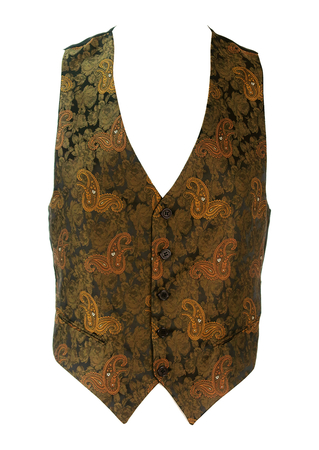 Waistcoat with Ochre & Olive Green Paisley and Rose Pattern - S/M
