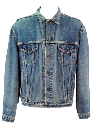 Levi's Slightly Distressed Mid Blue Denim Jacket - XL