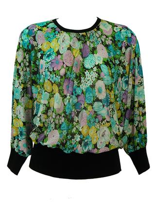 Ken Scott Silk Batwing Top with Multicoloured Floral Pattern - M