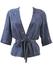 Silk Half Sleeve, Tie Waist, Cornflower Blue Patterned Top - M