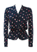 Navy Blue Long Sleeve Peplum Top with Pink & White Abstract Pattern - S
