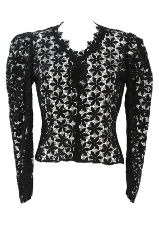 Victorian Style Black Lace Floral Pattern Long Sleeve Top - M
