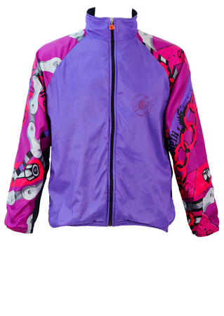Castelli Purple Cycling Jacket with Multicoloured Sleeves featuring Chain & Spanner Shapes - M