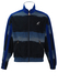 Australian L'Alpina Suede Effect Striped & Check Patterned Track Jacket in Blue - M