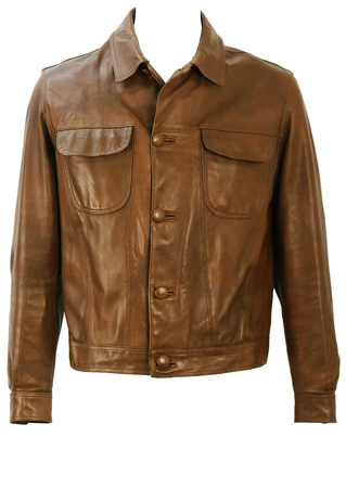Vintage 60's Brown Leather Jacket with Patch Pockets - M