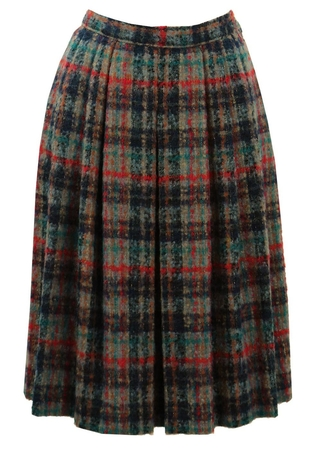 Multi Colour Check Skirt with Metallic Highlights - S