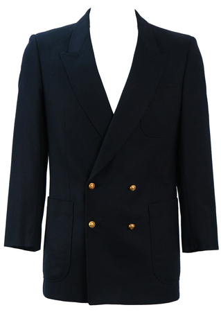 Navy Blue Pure Wool Double Breasted Blazer with Gold Buttons - S/M