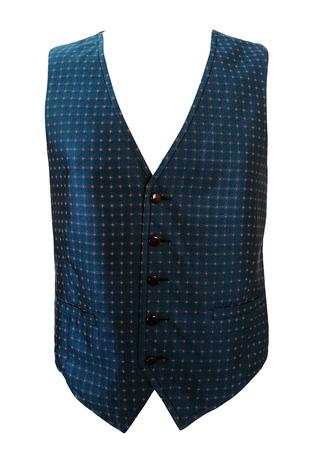 Dark Blue 100% Silk Waistcoat with Intricate Red Diamond & Circle Pattern - M