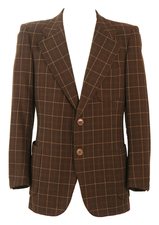 Dark Brown Blazer with Check Pattern Fabric by Ermenegildo Zegna - M