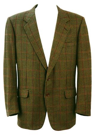 Green & Burgundy Tweed Check Wool Blazer - L/XL