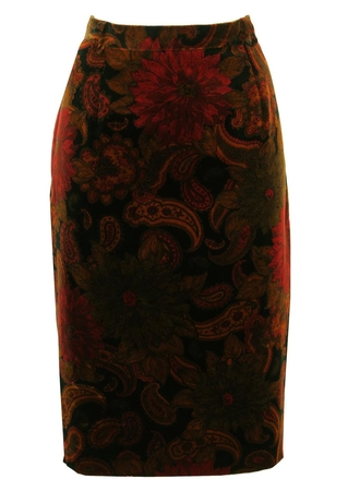 Floral and Paisley Print Velvet Pencil Skirt - M