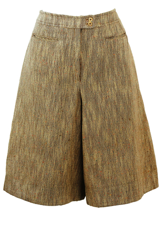 Brown & Cream Tweed Knee Length Culottes with Colourful Flecks - S