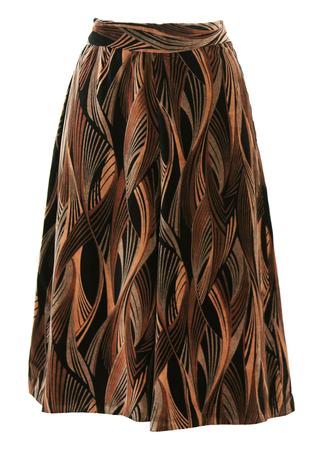 Midi Velvet Skirt with Brown & Black Swirl Abstract Pattern - M