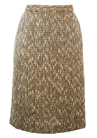 Beige Tweed Pencil Skirt with Dusty Pink, Cream & Soft Blue Colour Flecks - S/M