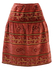 Coral Pink Velvet Knee Length Skirt with Metallic Gold Paisley Print - S