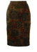 Brown Pencil Skirt with Abstract Hellenic Pattern in Green, Red, Ochre & Black - S