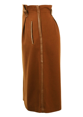 De Pietri Brown Wool Midi Skirt with Leather Trim Detail - M