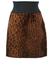 Leopard Print Textured Mini Skirt with Black Elasticated Waistband - M