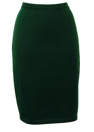 Dark Green Pure Wool Pencil Skirt - M