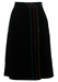 Black Velvet Midi Skirt with Blue, Red and Yellow Side Stripes - S/M