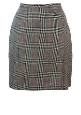 Prince of Wales Check Pure Wool Mini Skirt with Side Pleat - S/M