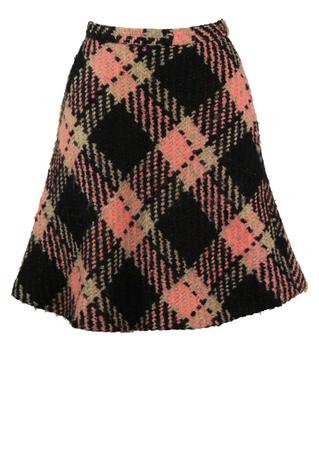 Vintage 60's Black, Pink & Grey Check Mini Skirt - S