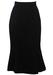 Figure Hugging Black Fishtail Midi Skirt in Pure Wool - S