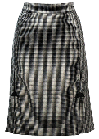 Blumarine Black & White Houndstooth Check Knee Length Skirt - M