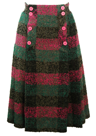 Textured Wool Midi Pleated Skirt with Pink, Turquoise & Black Check Pattern - S/M