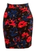 Pink & Blue Abstract Floral Print Mini Pencil Skirt - S