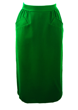 Emerald Green Pure Wool Midi Skirt with Pocket Detail - S/M