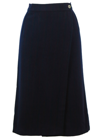 Navy Blue, Grey & Burgundy Striped Wrap Front Midi Wool Skirt - S/M