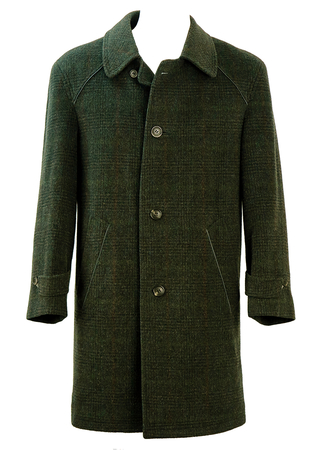 Tweed Green & Grey Wool & Mohair Coat with Subtle Check Pattern - M/L