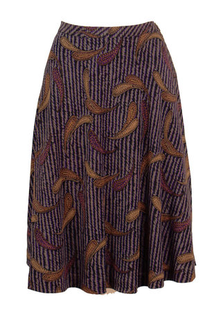 A-Line Purple & Grey Paisely Print Skirt - M