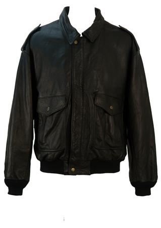 Black Leather Flight Bomber Jacket - XL/XXL