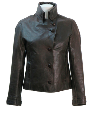 Brown Leather Fitted Jacket with Fold Over Collar Detail - XS/S