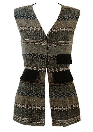 3/4 Length Fitted Waistcoat with Grey, Brown & White Ethnic Striped Pattern - M