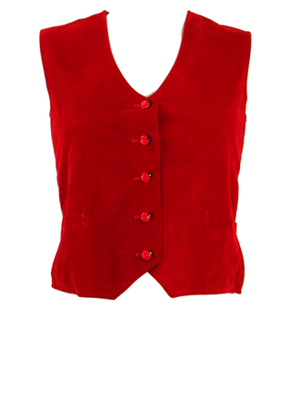 Red Velvet Waistcoat with Ladybird Buttons and Green & Red Tweed Check Back - S/M