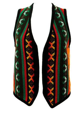 Black Ethnic Style Waistcoat with Multicoloured Woven Aztec Pattern - M