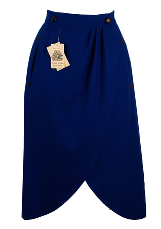 Electric Blue Pure New Wool Wrap Skirt - S