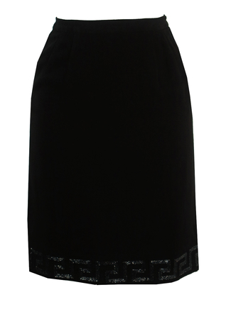 Vintage 60's Black Pencil Skirt with Beaded Hem - XS