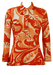Vintage 60's Orange & White Psychedelic Patterned Button Front Top - S/M