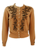 Vintage 50's Camel Cardigan with Intricately Beaded Metallic Gold Floral Pattern - S/M