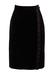 Black Velvet Pencil Skirt with Ruffle Trim - S