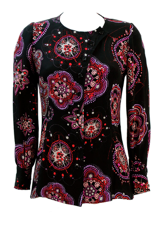 Emanuel Ungaro Parallele Blouse with Black, Red & Purple Abstract Floral Pattern - S