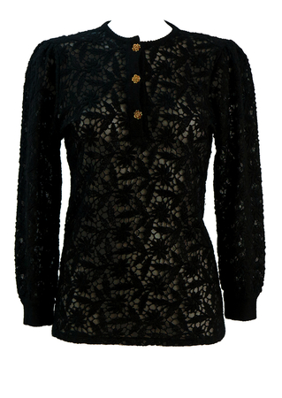 Black Lace Top with Embroidered Floral Pattern & Gold Rose Button Detail - S/M