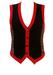 Black Rib Knit Waistcoat with Red Trim & Multicoloured Harlequin Pattern - M