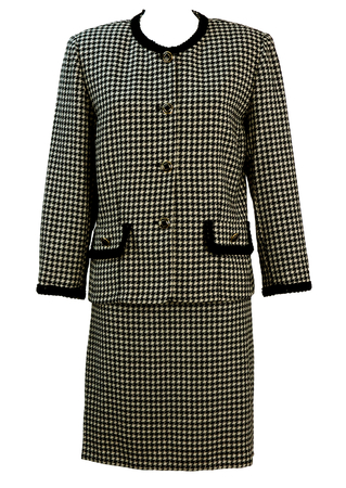 Jacket & Skirt Two Piece Suit with Black & White Dogtooth Check - M/L