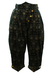 Black Velvet Pedal Pushers with Metallic Floral Print - S